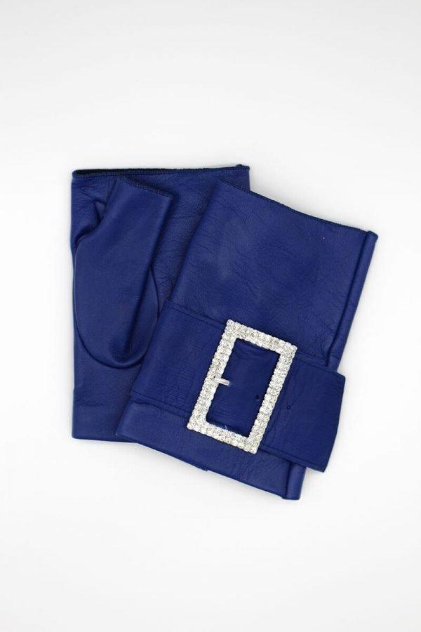 mitones-guantes-piel-cuero-hebilla-piedras-strass-Audrey-azulán-azúl-Armèlle-Spain-2