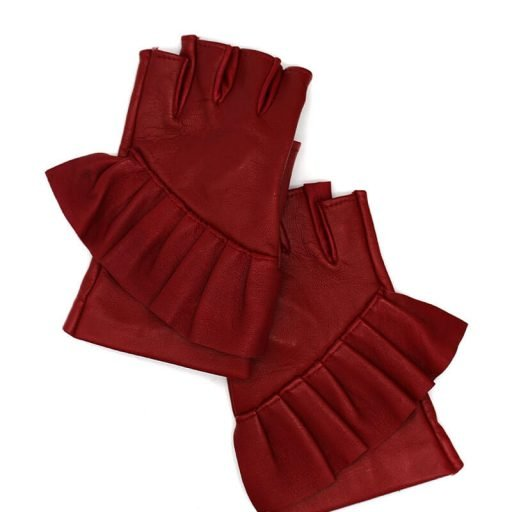 Fingerless-gloves-leather-Giorno-red-Spain-Armèlle-1