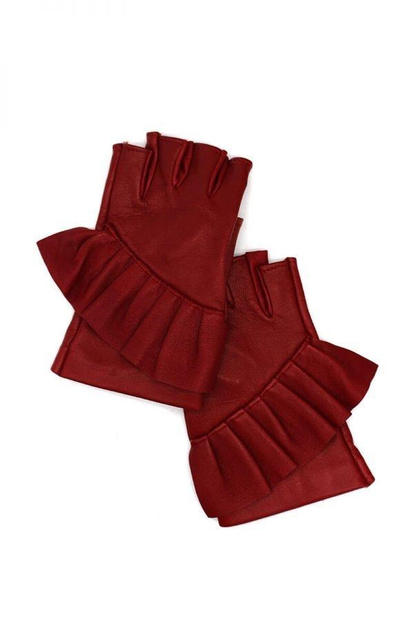 mitones-guantes-elegantes-piel-cuero-Giorno-rojo-Armèlle-Spain-1