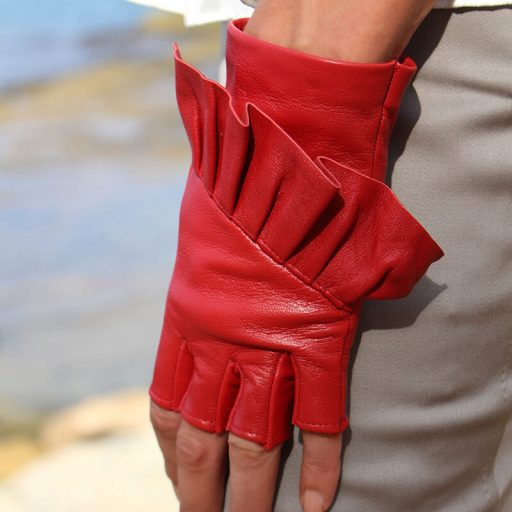 Fingerless-gloves-leather-Giorno-red-Spain-Armèlle-2