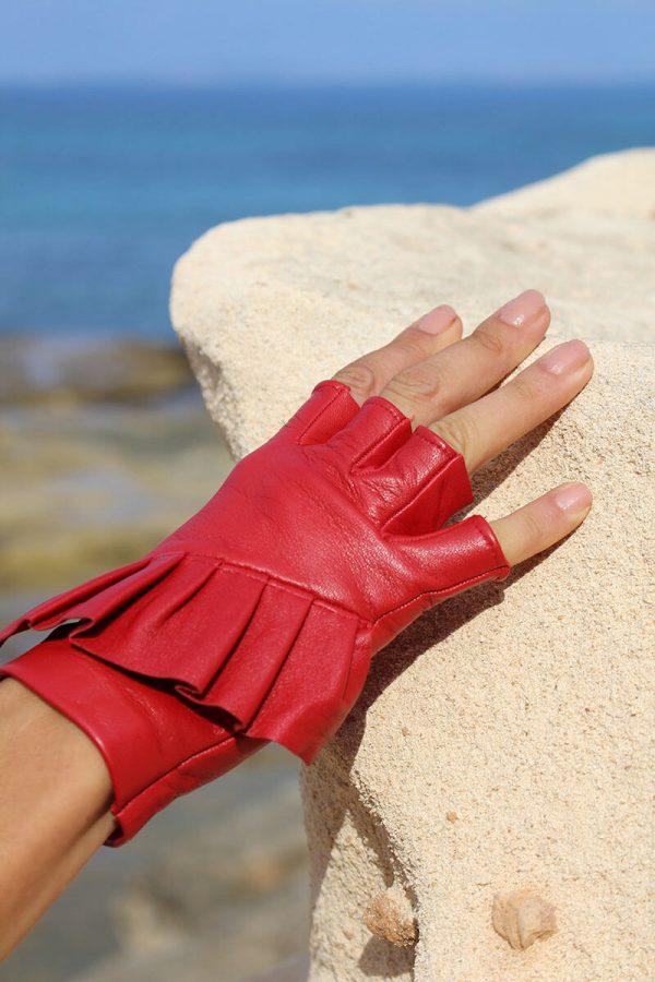 mitones-guantes-elegantes-piel-cuero-Giorno-rojo-Armèlle-Spain-4
