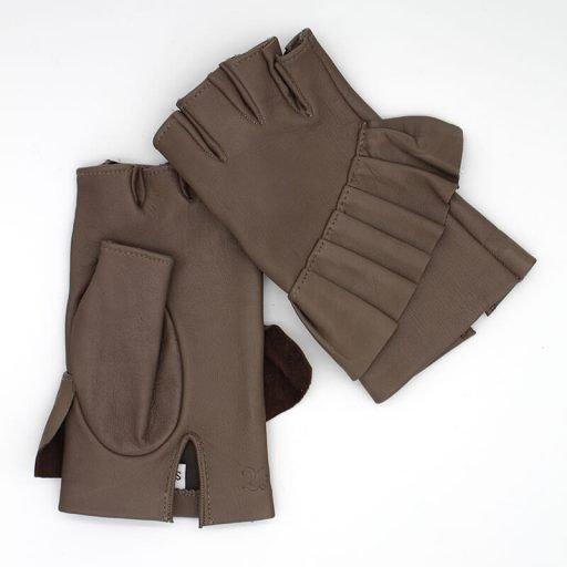 Fingerlose-Handschuhe-Leder-Giorno-taupe-Spain-myarmelle-1