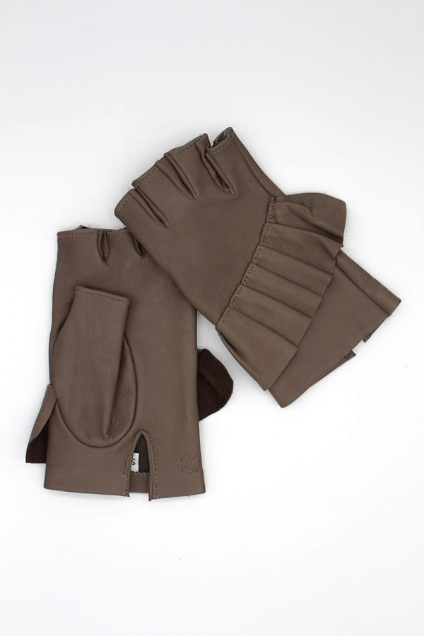 mitones-guantes-elegantes-piel-cuero-Giorno-taupe-Armèlle-Spain-1