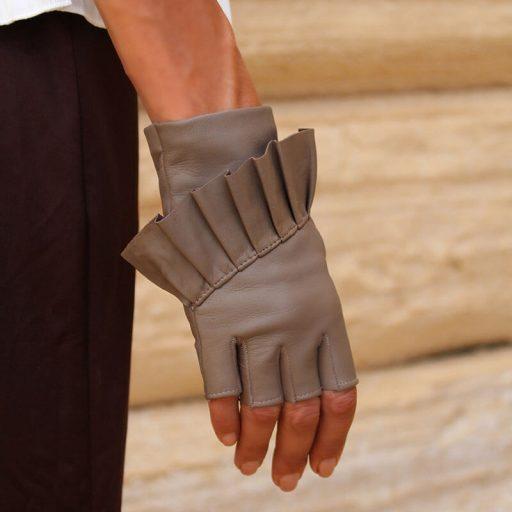 Fingerlose-Handschuhe-Leder-Giorno-taupe-Spain-myarmelle-2