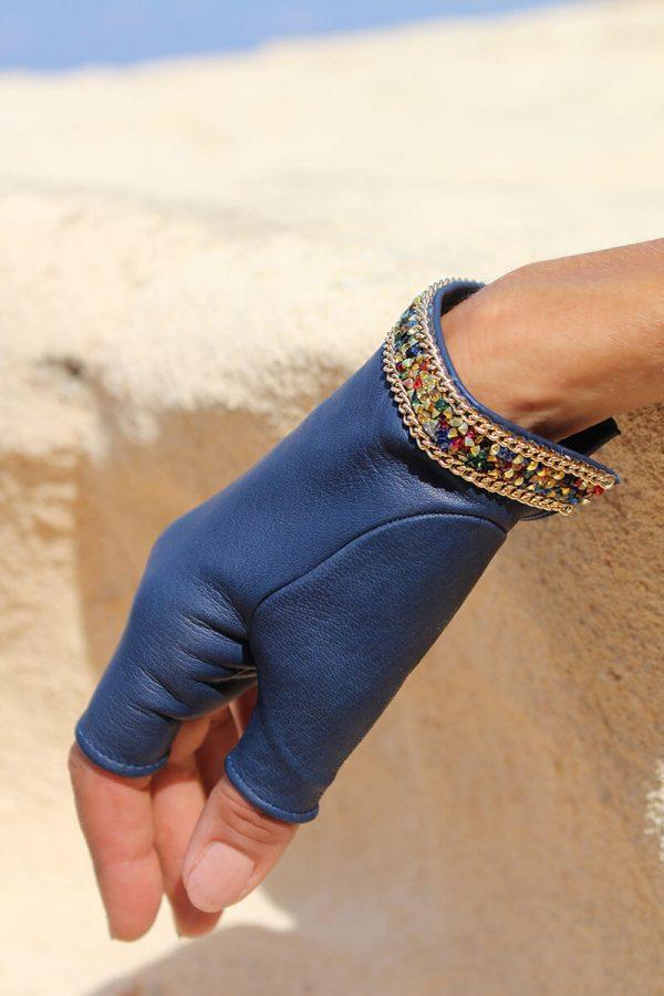 mitones-guantes-mujer-piel-elegante-cadena-tendencia-Palermo-azul-Armèlle-Spain-4