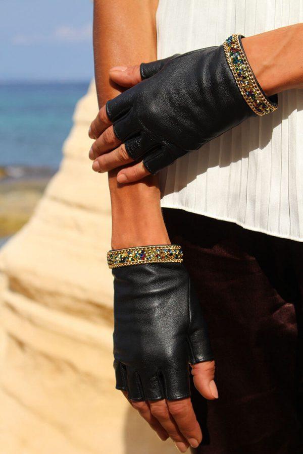 mitones-mujer-piel-elegante-cadena-tendencia-Palermo-negro-Armèlle-Spain-4