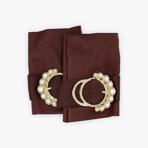 mitones-lujo-cuero-perla-burdeos-hebilla-perlas-Armèlle-Spain-1