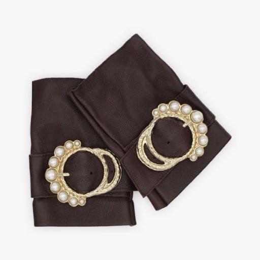 Mitones-piel-perla-marron-lujo-hebilla-perlas-Armèlle-Spain-1