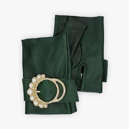 Guantes-sin-dedos-piel-hebilla-perlas-Perla-verde-Armèlle-Spain-2
