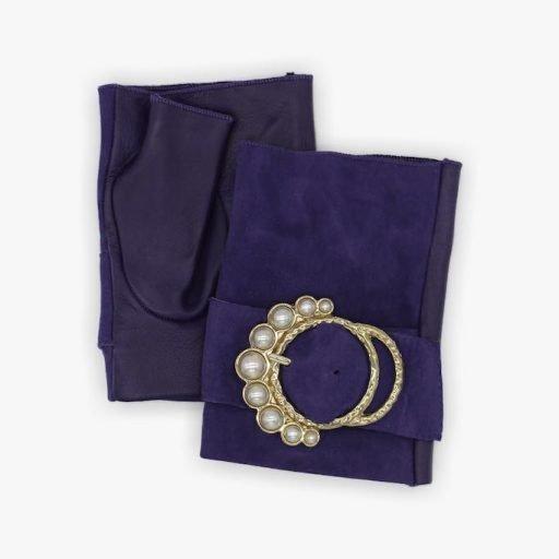 mitones-elegantes-cuero-perla-violeta-hebilla-perlas-Armèlle-Spain-2